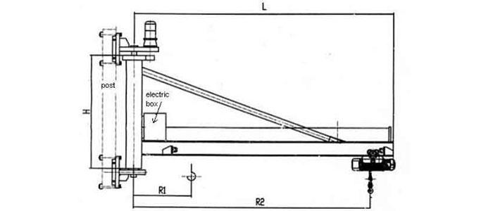 Wall mounted jib crane drawing