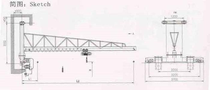 Wall travelling jib crane drawing